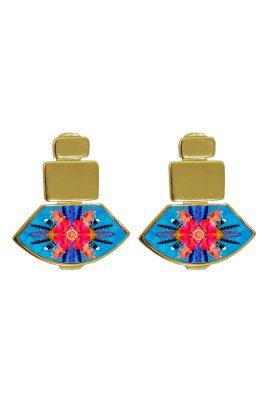 Flor Amazona Sunrise Cheetah Blue emaille oorbellen 24 karaat vergulde luxury bijoux