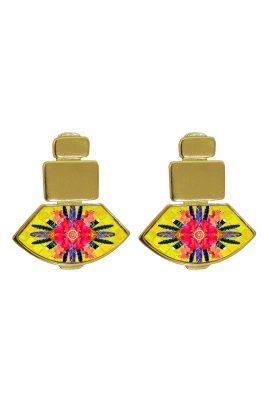 Flor Amazona Sunrise Cheetah Yellow emaille oorbellen 24 karaat vergulde luxury bijoux