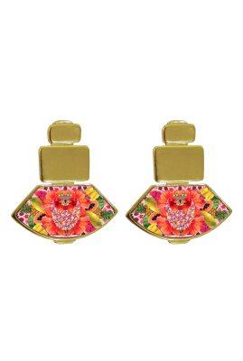 Flor Amazona Palenquera Pink emaille oorbellen 24 karaat vergulde luxury bijoux