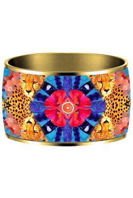 Flor Amazona Sunrise Cheetah Blue emaille bangle 24 karaat verguld voorkant