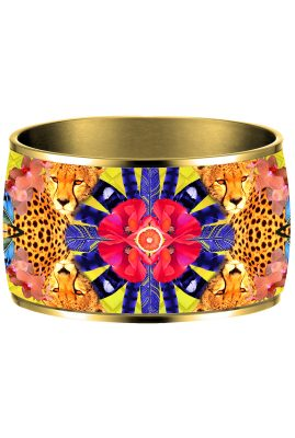 Flor Amazona Sunrise Cheetah Yellow emaille bangle 24 karaat verguld voorkant