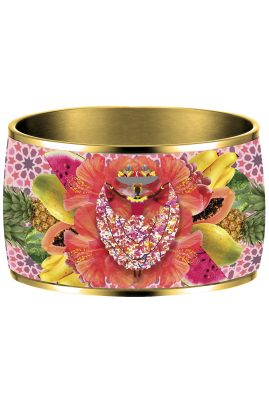 Flor Amazona Palenquera Pink emaille bangle 24 karaat verguld luxury bijoux voorkant