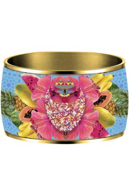 Flor Amazona Palenquera Blue emaille bangle 24 karaat verguld luxury bijoux voorkant