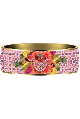 Flor Amazona Palenquera Pink emaille bangle 24 karaat verguld voorkant
