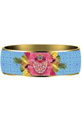 Flor Amazona Palenquera Blue emaille bangle 24 karaat verguld voorkant