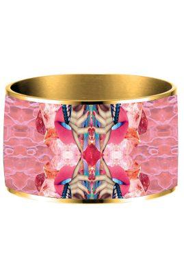 Flor Amazona 24 karaat verguld Pink Delirio emaille bangle luxury bijoux voorkant