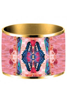 Flor Amazona 24 karaat verguld Pink Delirio emaille bangle luxury bijoux voorkant