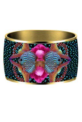 Flor Amazona 24 karaat verguld Atlantic Manta emaille bangle luxury bijoux voorkant