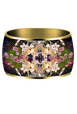 Flor Amazona 24 karaat verguld Colibri Kingdom emaille bangle luxury bijoux voorkant