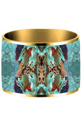 Flor Amazona 24 karaat verguld Jaguar Nights emaille bangle luxury bijoux voorkant