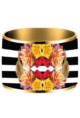 Flor Amazona 24 karaat verguld Rio and Roses emaille bangle luxury bijoux voorkant