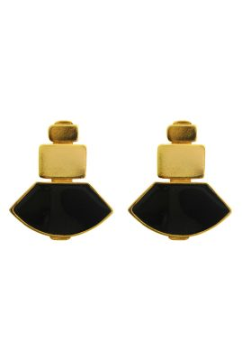 Flor Amazona Tokyo Black emaille oorbellen 24 karaat vergulde luxury bijoux