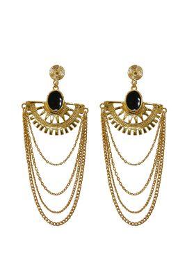 Flor Amazona Maya Black statement oorbellen 24 karaat verguld luxury bijoux