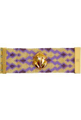 Flor Amazona glaskralen El Dorado Lavender armband 24 karaat verguld luxury bijoux