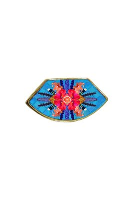 Flor Amazona Sunrise Cheetah Blue emaille ring 24 karaat vergulde luxury bijoux