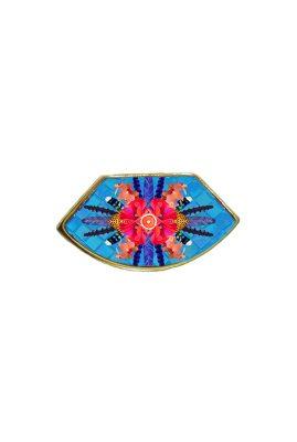 Flor Amazona Sunrise Cheetah Blue emaille ring 24 karaat vergulde luxury bijoux