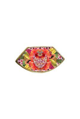 Flor Amazona Palenquera Pink emaille ring 24 karaat vergulde luxury bijoux