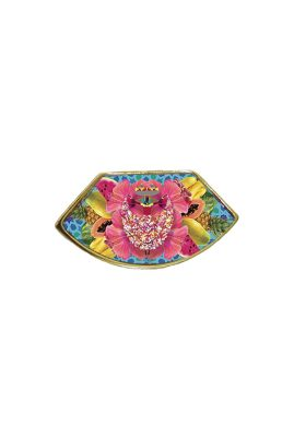 Flor Amazona Palenquera Blue emaille ring 24 karaat vergulde luxury bijoux
