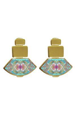 Flor Amazona Neptune Treasure Aqua emaille oorbellen 24 karaat vergulde luxury bijoux