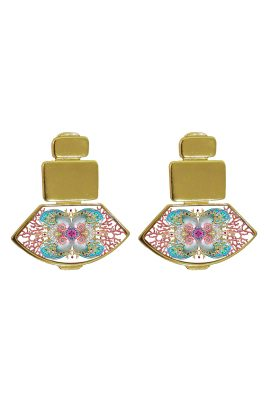 Flor Amazona Neptune Treasure White emaille oorbellen 24 karaat vergulde luxury bijoux