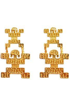 Flor Amazona Tribu Long statement oorbellen 24 karaat verguld luxury bijoux musthave