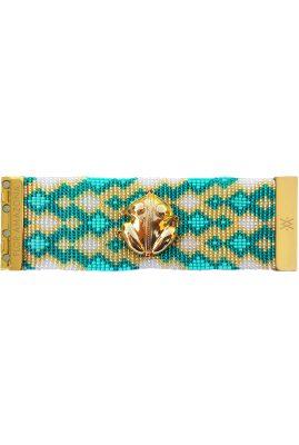 Flor Amazona glaskralen El Dorado Emerald armband 24 karaat verguld luxury bijoux